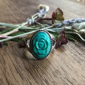 Carolyn Pollack carved turquoise rose ring